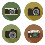 Modern flat camera icons Stock Images