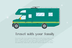 Modern flat camper van. Car for family travel. Concept of outdoor recreation and travel around the world. Poster, card, leaflet or banner template design with stock illustration