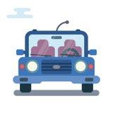 Modern flat cartoon illustration of front side of stylized car. Royalty Free Stock Photo