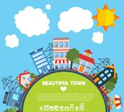 Modern flat city background infographics Royalty Free Stock Photo
