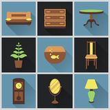 Modern flat color icons vector set with long shadow effect. Set of furniture vector illustration