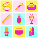 Modern flat color icons vector set with long shadow effect. Set of womens cosmetics and accessories vector illustration