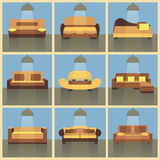 Modern flat color sofa icons set. With long shadow effect stock illustration