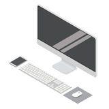 Modern flat computer desktop isometric  illustration for info graphic design. Royalty Free Stock Photo