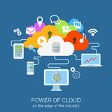 Modern flat concept power cloud device computer tablet phone Stock Image