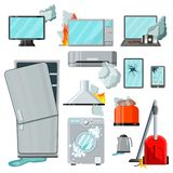 Modern flat consumer electronics home appliances with different damages,vector set.Broken household goods-mobile phone. Modern flat home appliances consumer vector illustration