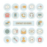 Collection of outline contact us icons Stock Images