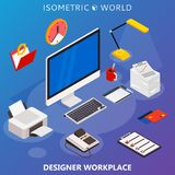Modern flat 3d isometric concept of workplace with computer and office equipment. Vector infographics collection Stock Photo