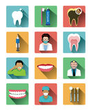 Modern flat dental icons set with long shadow effect Stock Photography