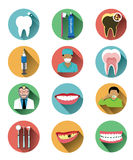 Modern flat dental icons set with long shadow effect Royalty Free Stock Images