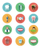 Modern flat dental icons set with long shadow effect Royalty Free Stock Photography