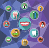 Modern flat dental icons set with polygon background Stock Photo