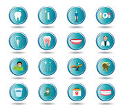 Modern flat dental icons set Royalty Free Stock Images