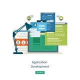 Modern flat design application development concept. For e-business, web sites, mobile applications, banners, mobile navigation. Vector illustration Stock Images