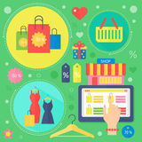 Modern flat design beauty and shopping concept icons. Icons for beauty Royalty Free Illustration