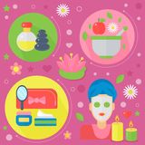 Modern flat design beauty and shopping concept icons. Icons for beauty Stock Illustration