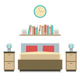Modern Flat Design Bedroom Stock Photography