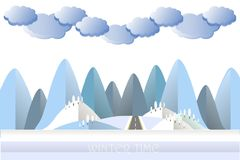 Modern flat design blue cloud, mountain and hill in snow, tree. Grey road stock vector illustration Royalty Free Stock Photography