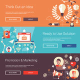 Modern flat design business headers set with icons Stock Photo