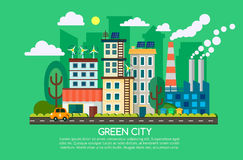 Modern flat design concept of smart green city. Eco friendly city, generation and saving green energy. Vector Royalty Free Stock Images