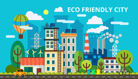 Modern flat design concept of smart green city. Eco friendly city, generation and saving green energy. Vector Stock Photos