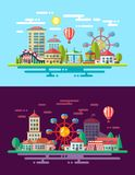 Modern flat design conceptual city illustration Royalty Free Stock Photos