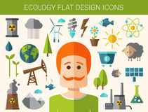 Modern flat design conceptual ecological icons Stock Photos
