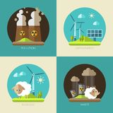 Modern flat design conceptual ecological illustrations Royalty Free Stock Photos