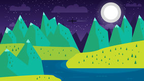 Modern flat design conceptual landscape with moon, mountains, river and lake. Illustrations of beautiful forest scenes. Set of vector modern flat design Stock Photography