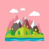 Modern flat design conceptual landscape. Nature vector flat icon. Modern flat design conceptual landscape illustration Royalty Free Stock Photography