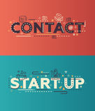 Modern flat design Contact, Start Up lettering with business icons Stock Photos