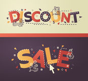 Modern flat design Discount, Sale lettering with business line icons Stock Image