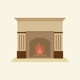 Modern Flat Design Fireplace Royalty Free Stock Photos