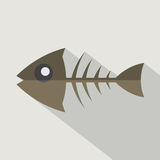 Modern Flat Design Fishbone Icon. Stock Photography