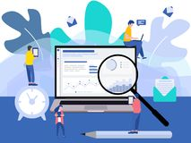 Modern flat design with a group of miniature business people analyse data together. Tiny people characters royalty free illustration
