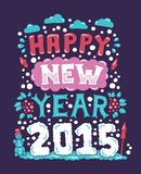 Modern  flat design hipster New Year 2015 postcard Royalty Free Stock Images