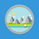 Modern flat design. houses and mountains. Royalty Free Stock Images