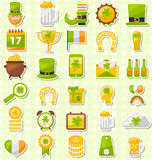 Modern Flat Design Icons for Saint Patrick's Day, Collection Holiday Irish Elements Royalty Free Stock Photography