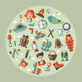 Modern flat design illustration of camping and Royalty Free Stock Images