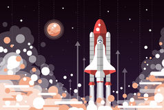 Modern flat design illustration of space shuttle Royalty Free Stock Images