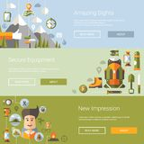 Modern flat design illustrations of camping and. Hiking info graphic vector elements