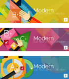 Modern flat design infographic banners. Infographics, geometric shapes with hands Stock Image