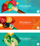 Modern flat design infographic banners. Infographics, geometric shapes with hands Stock Photos