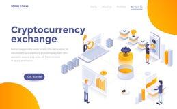 Flat color Modern Isometric Concept Illustration - Cryptocurrency exchange. Modern flat design isometric concept of Cryptocurrency exchange for website and vector illustration