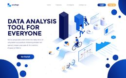 Flat color Modern Isometric Concept Illustration - Data Analysis tool for everyone vector illustration