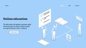 Landing page template. Programming course modern flat design isometric concept. Landing page template for online course stock photo