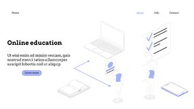 Landing page template. Programming course modern flat design isometric concept. Landing page template for online course royalty free stock photo