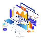 Flat color Modern Isometric Illustration - Data Analysis. Modern flat design isometric illustration of Data Analysis. Can be used for website and mobile website Royalty Free Stock Photo
