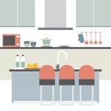 Modern Flat Design Kitchen Interior Royalty Free Stock Photo