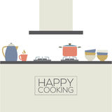 Modern Flat Design Kitchen Interior Stock Image
